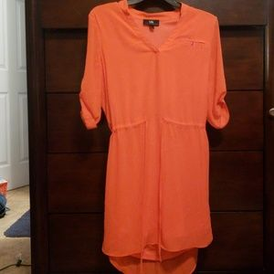 Adjustable coral colored half sleeve dress
